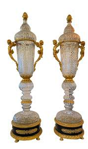 A Pair of Hand Cut Crystal Palace Vases with Gilded