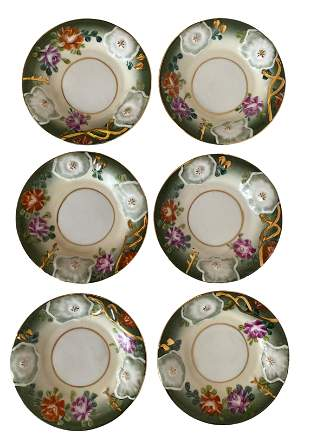 6 Hand painted Porcelain Dessert Plates