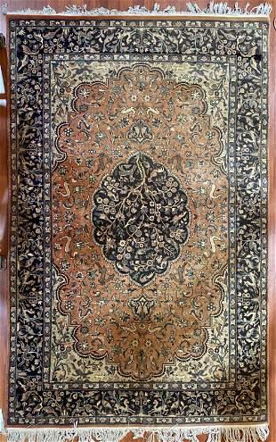 Animal Motif Vintage Tabriz Persian Rug 8x4ft
