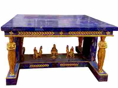 French Empire Lapis Lazuli Table with Gilt Bronze