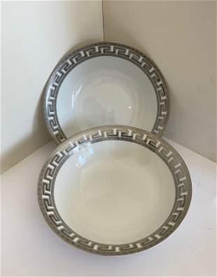 Set of Two Platinum Greek Key Serving Bowls
