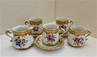 Partial Tea Set with Gold Trim