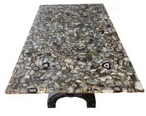 Natural  Agate Dining Table with Marble Base