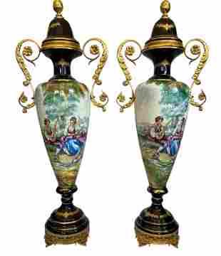 Pair of Large Italian Ormolu Mounted Lidded Porcelain