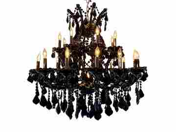 Black Crystal Maria Theresa 2 Tier Chandelier