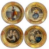 4 Sevres Style Decorative Hand Painted Porcelain Plates