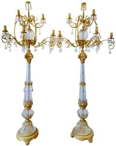 Pair of Bohemian Crystal and Gilt Bronze Torchieres