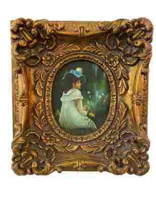 """Gilt Frame Oil Painting """"Giselle at 20"""""""