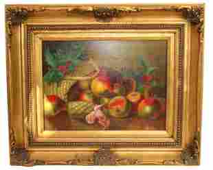 Gilt Frame Oil Painting of Fall Fruit