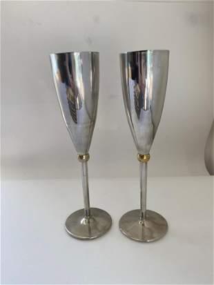 Set of 2 Vintage Godinger Silver Plate Champagne Flutes