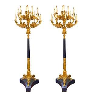 Pair Italian Baldi Lapis Lazuli and Gilt Bronze