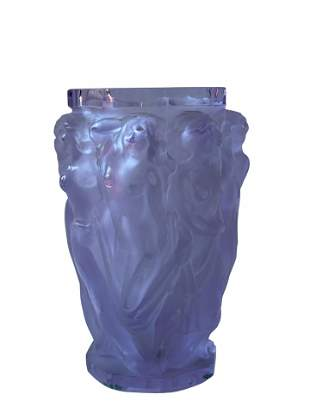 Art Deco Bohemian Frosted Crystal Vase Les Bacchantes-