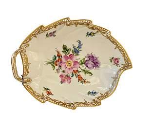 Dresden Porcelain Leaf Dressing Table Dish