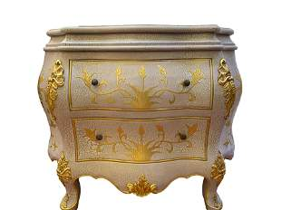 Vintage White Crackle and Gold Leaf Bombe Chest  