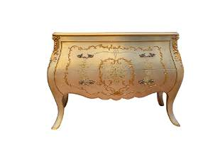 Silver and Gold Leaf Hand Painted Bombe Chest   Commode