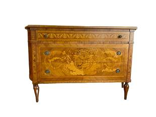 Marquetry Hand Crafted Wood Chest of Drawers  