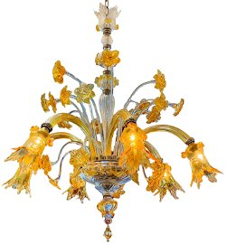 Murano Glass Amber and Clear 6 Light Chandelier