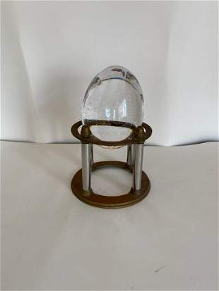 Crystal Egg on Brass Stand