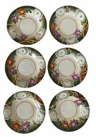 6 Vintage Hand Painted Porcelain Dessert Plates