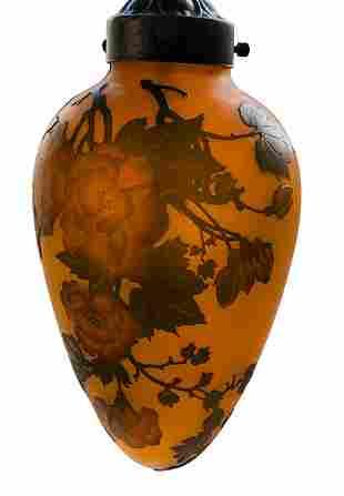 French Art Nouveau Etched Glass Pendant Light