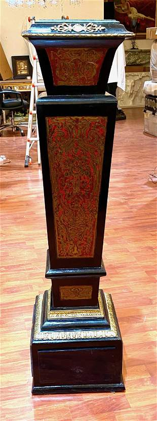 Vintage Boulle Style Pedestal with Marble Top