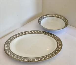 Platinum Greek Key Design Platter and Bowl
