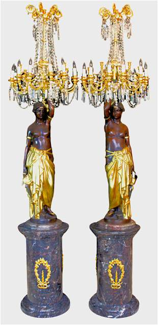 Pair Monumental Patinated and Gilt Bronze Orientalist