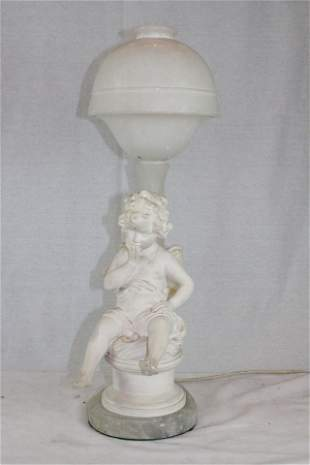 Vintage Alabster and Resin ''Putto Faretta'' Lamp
