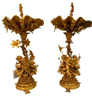 Pair of Spanish Figural Louis XV Style Bronze Compotes