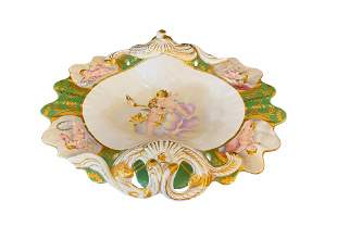 Hand Painted Porcelain Bowl with Handles