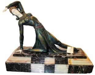 Art Deco Bronze Sculpture ''Exotic Dancer'' on Marble