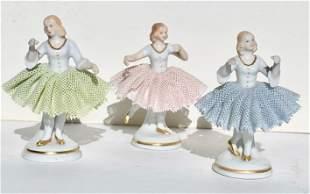 Three German Porcelain Lace Ballerinas