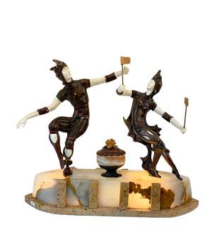"Art Deco Bronze Sculpture ""Jesters"" on Marble Base"