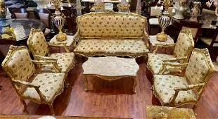 Victorian Embroidered Silk Sofa Set