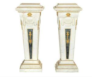 A Fine Pair of Baroque Style Gilt Bronze Mounted White