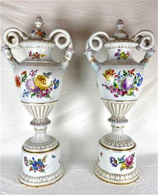 Pair of Large Dresden Vases