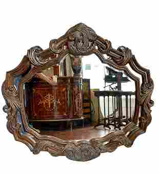 Large Art Nouveau Style Wood Framed Wall Mirror