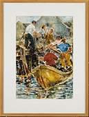 Joseph Kaplan (1900-1982) untitled (fisherman at dock)