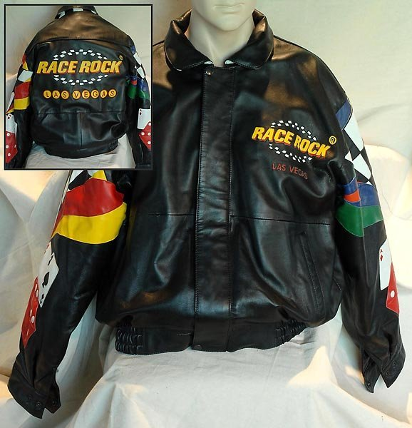 Black Race Rock Las Vegas Leather Jacket