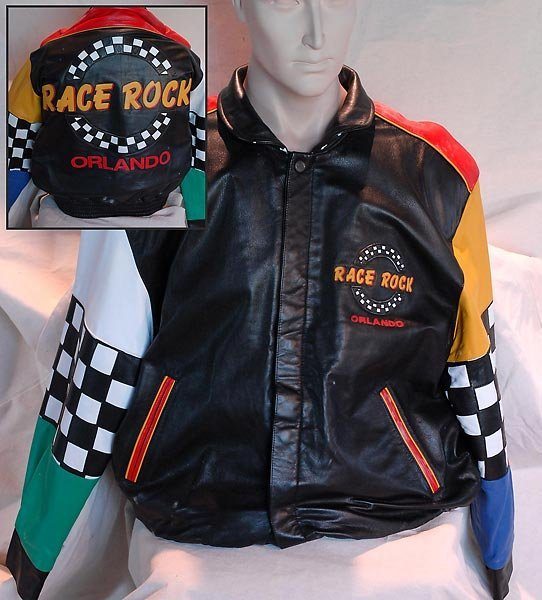 Black Leather Race Rock Of Orlando Jacket