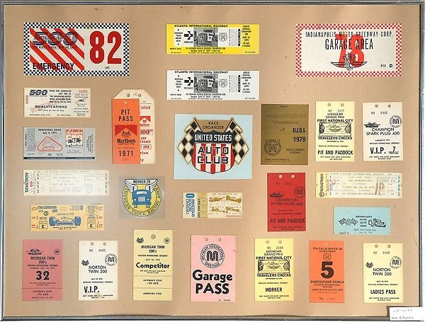 Framed Assortment Indy 500 Tickets & Pit Passes