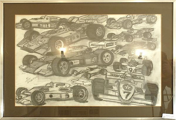 502: Pencil Drawing 70' & 80' Indy Cars Cart Artwork