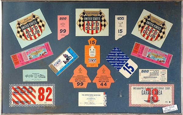 527: Misc. Indianapolis 500 Tickets And Passes Framed