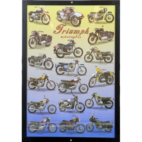 11: Series of 3 Framed Factory Motorcycle Posters