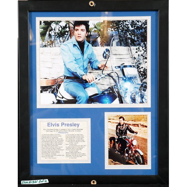 22: Auto Poster of R Petty and Elvis Presley Plaque