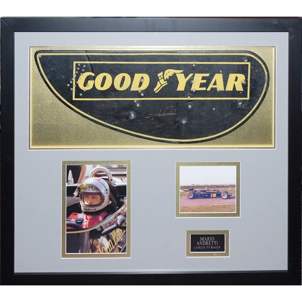 176A: Framed Signed Mario Andretti Lotus F1 Rear Wing