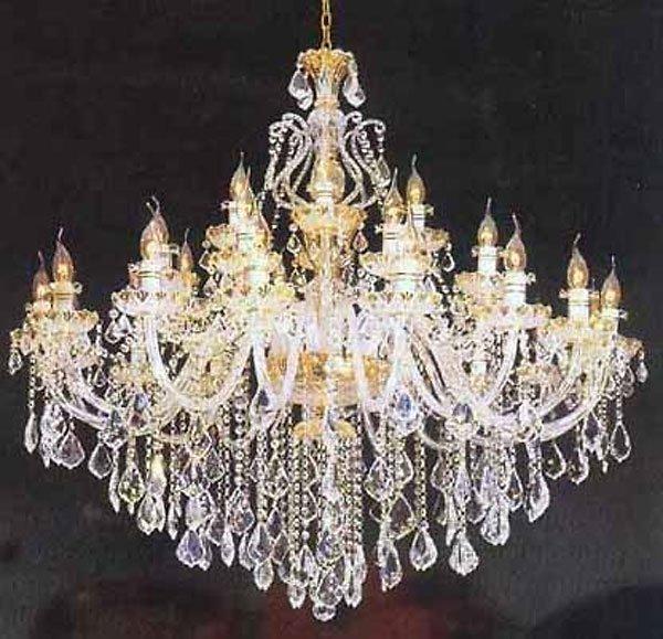 40008: Bohemian Crystal & Gold Chandelier (47) Free Shi