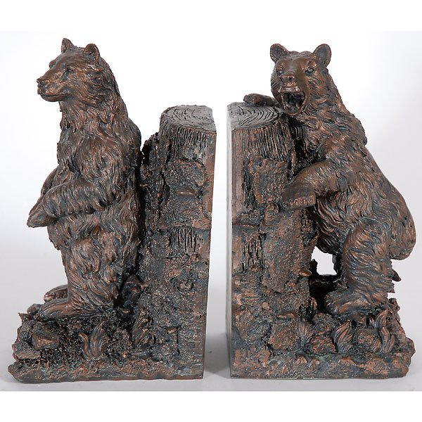 40015: Pair Grizzly Bear Bookends Free Shipping