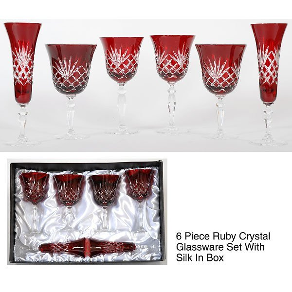 40282: Set of 6 Ruby Crystal Glassware Free Shipping