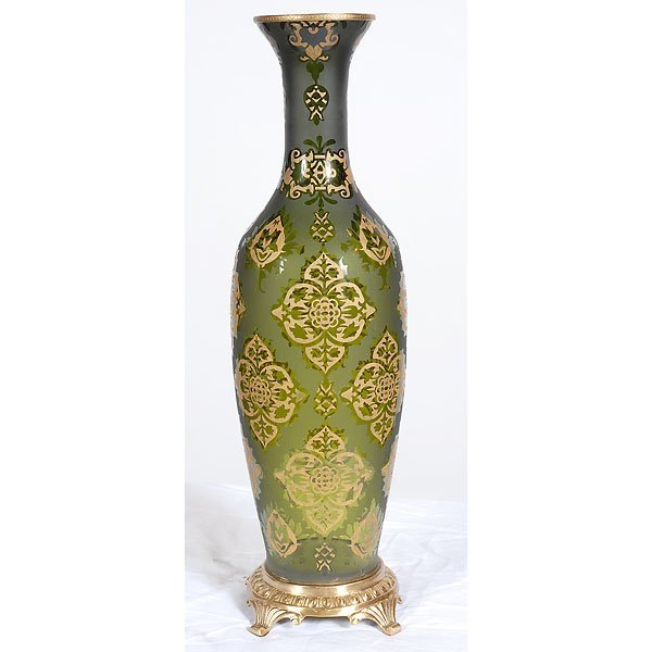 10013: Tall Olive Etched Glass Vase with Gold Accent